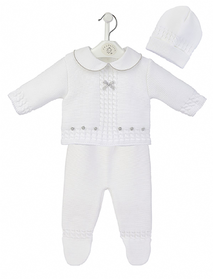 White Knitted 3 Piece Legging Set with Hat